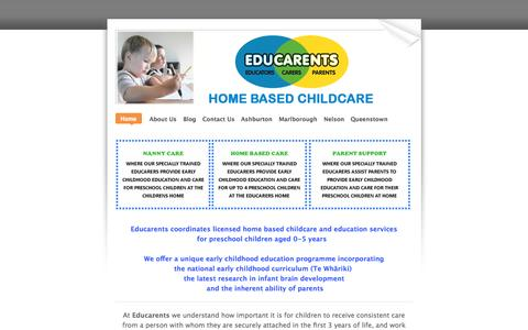 Screenshot of Home Page educarents.com - Educarents coordinates high quality, affordable home based childcare and education services.  Educarents is available to families who already have a family member helping with childcare and is ideal for parents wanting training and support for somebo - captured Oct. 2, 2014