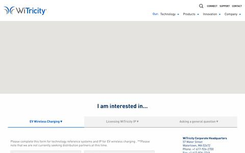 Screenshot of Contact Page witricity.com - Contact • WiTricity - captured June 12, 2019