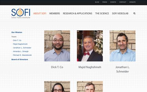 Screenshot of Team Page solar-fuels.org - Team | Solar Fuels Institute - captured Oct. 27, 2017