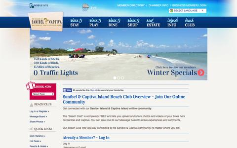 Screenshot of Login Page sanibel-captiva.org - Beach Club Login - Sanibel Captiva Chamber of Commerce - captured Jan. 15, 2016