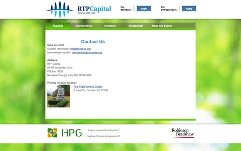Screenshot of Contact Page rtpcapital.org - Contact Us - captured Oct. 7, 2014