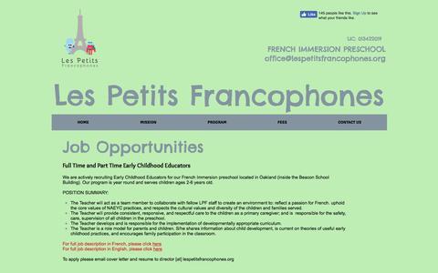 Screenshot of Jobs Page lespetitsfrancophones.com - Les Petits Francophones, a French Immersion Preschool In Oakland, CA   JOBS - captured May 17, 2017