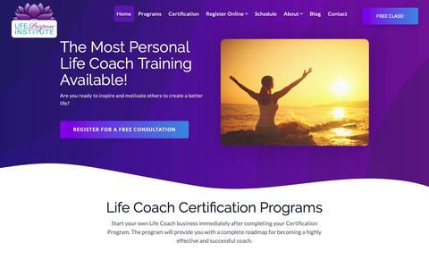 Screenshot of Home Page lifepurposeinstitute.com - Life Coach Certification - captured Dec. 8, 2018