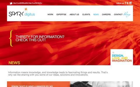 Screenshot of Press Page sparkdigitus.com - News - captured Sept. 30, 2014