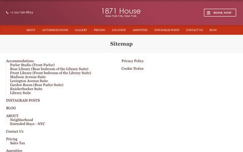 Screenshot of Site Map Page 1871house.com - Sitemap – 1871 House – New York City – United States of America - captured Sept. 21, 2018