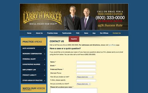Screenshot of Contact Page larryhparker.com - Contact The Law Offices of Larry H. Parker in Los Angeles, California - captured Sept. 18, 2014
