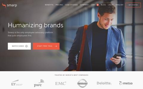 Screenshot of Home Page smarp.com - Smarp - The Ultimate Employee Advocacy Platform - captured Jan. 13, 2016