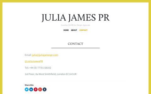 Screenshot of Contact Page wordpress.com - Contact | Julia James PR - captured Sept. 12, 2014