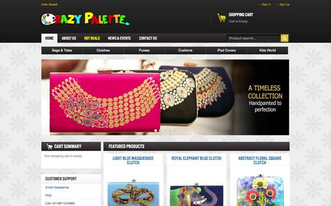 Screenshot of Home Page crazypalette.in - Crazy Palette | Buy exclusive Hand Painted Womens Handbags & Accessories | Shop Online | - captured Jan. 27, 2015
