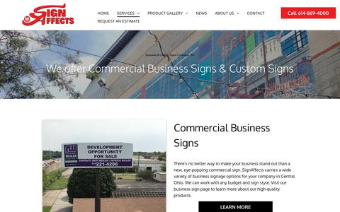Screenshot of Services Page signaffects.com - Business & Custom Signs Columbus in OH | SignAffects - captured Oct. 2, 2018
