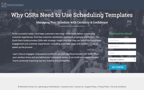Screenshot of Landing Page hotschedules.com - Ebook - Why QSRs Need Scheduling Template - captured March 27, 2018