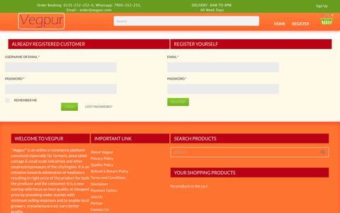Screenshot of Signup Page vegpur.com - My Account | Online Fruits & Vegetables Dehradun, Hardwar - captured Sept. 20, 2018