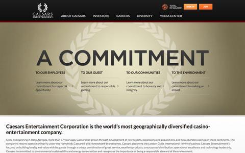 Screenshot of Home Page caesarscorporate.com - Caesars Entertainment Corporation - captured Sept. 18, 2015