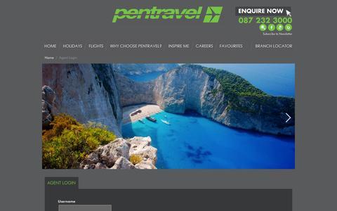Screenshot of Login Page pentravel.co.za - Pentravel | Agent Login - captured Sept. 19, 2014