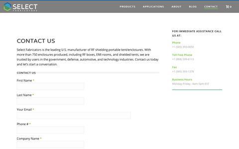 Screenshot of Contact Page select-fabricators.com - RF Shielding Portable Tent: Contact | Select Fabricators - captured Dec. 2, 2019