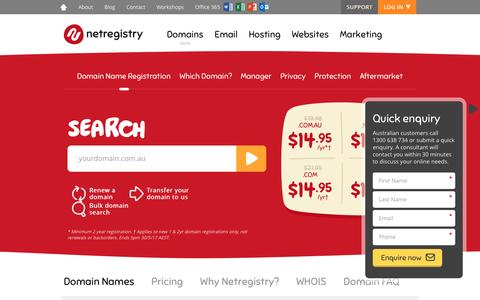 Screenshot of Pricing Page netregistry.com.au - Domain Names   Netregistry Domain Name Registration & Search - captured May 6, 2017