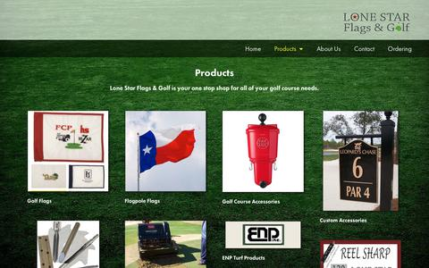 Screenshot of Products Page lonestargolfflag.com - Products - Lone Star Flags & Golf - captured Sept. 30, 2018