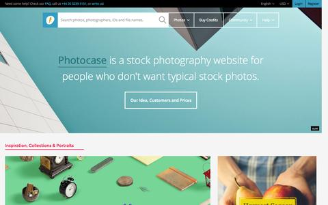 Screenshot of Home Page photocase.com - Welcome to Photocase. Unique stock photos since 2001. - Photocase - captured Oct. 2, 2015