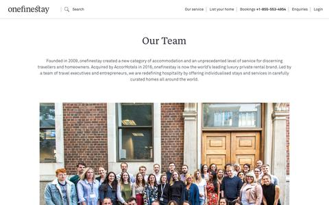 Screenshot of Team Page onefinestay.com - Our team | onefinestay - captured Jan. 10, 2019