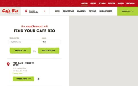 Screenshot of Locations Page caferio.com - Locations - Mexican Food Near Me | Cafe Rio - captured Oct. 16, 2016