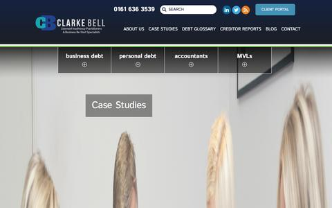 Screenshot of Case Studies Page clarkebell.com - Corporate and Individual Case Studies from Clarke Bell, Licensed Insolvency Practitioners - captured Jan. 23, 2016