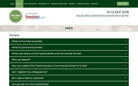 Screenshot of FAQ Page finefoodaustralia.com.au - FAQ's - Fine Food Australia - captured Dec. 10, 2017