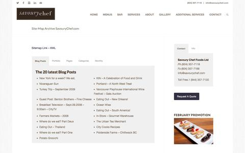 Screenshot of Site Map Page savourychef.com - Site-Map Archive SavouryChef.com | Savoury Chef Foods Catering, Vancouver BC - captured Feb. 4, 2016