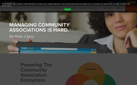 Screenshot of Home Page topssoft.com - TOPS Software - Powering Community Associations - captured July 12, 2018