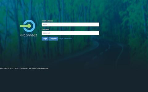 Screenshot of Login Page evconnect.com captured July 12, 2018