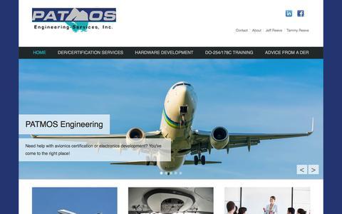 Screenshot of Home Page patmos-eng.com - Patmos Engineering Inc: | DER Training | Hardware Development - captured Jan. 26, 2016