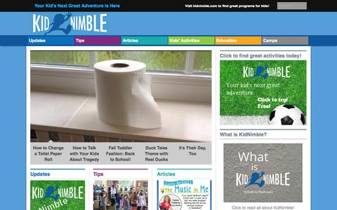 Screenshot of Blog kidnimble.com - KidNimble - Find great activities for kids! - captured Sept. 16, 2014