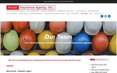 Screenshot of Team Page arnoldinsuranceagency.com - Our Team — Arnold Insurance Agency Inc. - captured July 30, 2018