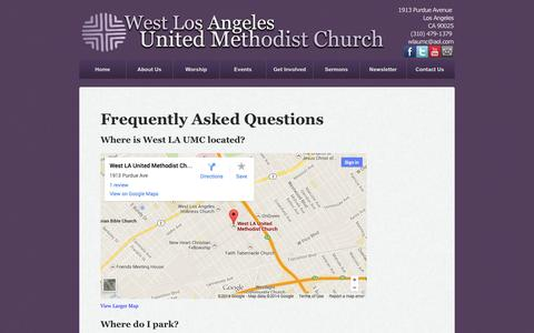 Screenshot of FAQ Page wlaumc.com - Frequently Asked Questions - West Los Angeles United Methodist Church - captured Oct. 1, 2014