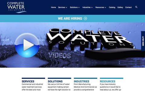 Screenshot of Home Page complete-water.com - Complete Water Solutions | Industrial & Commercial Water Filtration | Water Treatment - captured Jan. 26, 2018
