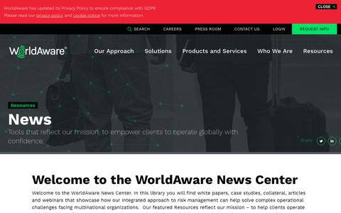 Screenshot of Press Page worldaware.com - News | WorldAware - captured June 21, 2019