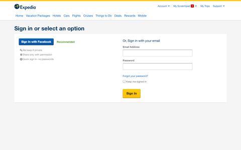 Screenshot of Login Page expedia.com - Sign In - captured Sept. 19, 2014