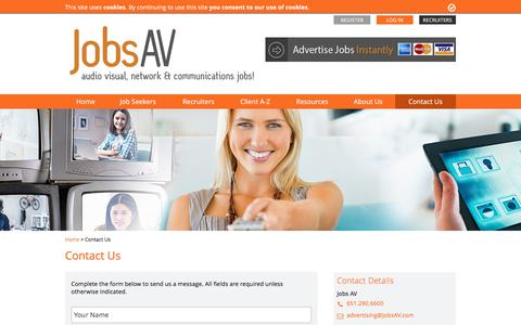 Screenshot of Contact Page jobsav.com - Contact Us - JobsAV - captured June 8, 2017