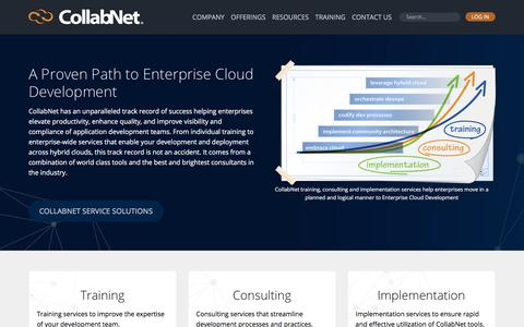 Screenshot of Services Page collab.net - A Proven Path to Enterprise Cloud Development | CollabNet - captured July 6, 2017