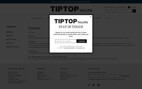 Screenshot of Jobs Page tiptoptailors.ca - Careers | Tip Top Tailors - captured March 15, 2017