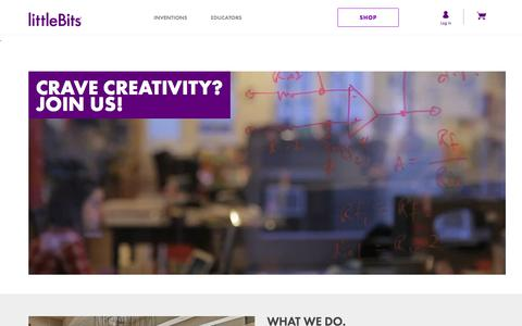 Screenshot of Jobs Page littlebits.cc - littleBits Careers | Crave creativity? Join us! - captured Jan. 18, 2018