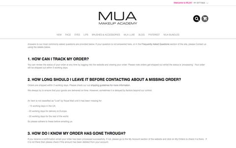 Screenshot of Support Page muastore.co.uk - Contact | MUA Make up Academy - captured May 20, 2016