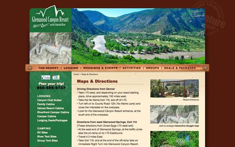 Screenshot of Maps & Directions Page glenwoodcanyonresort.com - Directions to Glenwood Canyon Resort Near Glenwood Springs, Colorado - captured Sept. 19, 2014