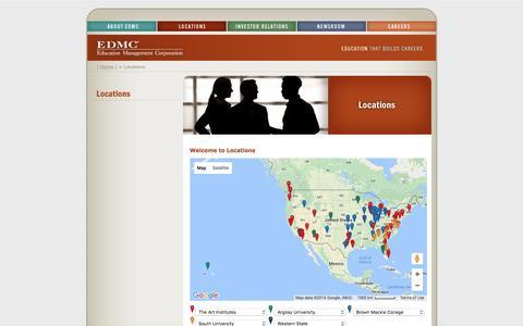 Screenshot of Locations Page edmc.edu - Education Management Corporation - Locations - captured Sept. 11, 2016