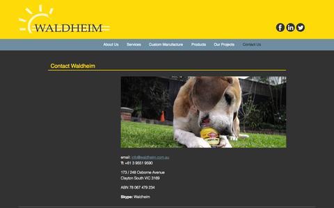 Screenshot of Contact Page waldheim.com.au - Contact | Waldheim Services - captured Oct. 7, 2014
