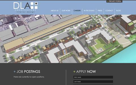 Screenshot of Jobs Page dlaplus.com - Careers   DLA+ Architecture & Interior Design - captured Jan. 27, 2016