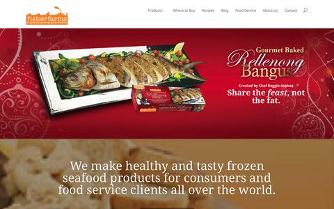 Screenshot of Home Page fisherfarms.ph - Fisher Farms Inc | Healthy, quick, tasty frozen seafood products - captured Oct. 1, 2014