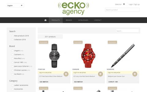 Screenshot of Products Page eckoagency.com - Ecko Agency | Luxury Corporate Gifts -         Our products - captured July 16, 2018
