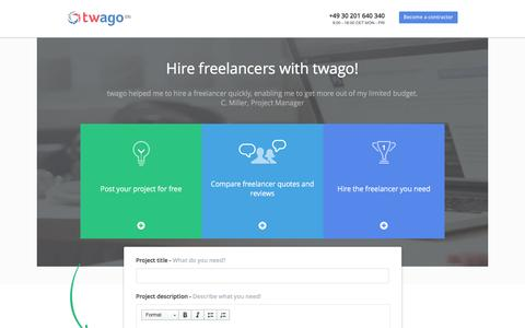 Screenshot of Landing Page twago.com - twago | hire a freelancer - find the best freelancers online! - captured May 20, 2016