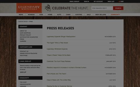 Screenshot of Press Page deergear.com - Press Public Relations | Legendary Whitetails - captured Jan. 19, 2016