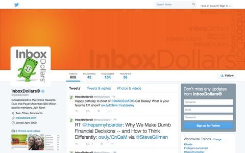 Screenshot of Twitter Page twitter.com - InboxDollars® (@InboxDollars)   Twitter - captured Oct. 23, 2014